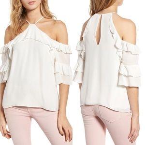 Parker Natalia Cold-Shoulder Silk Blouse Size S
